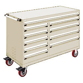 "Rousseau Metal 10 Drawer Mobile Multi-Drawer Cabinet - 60""Wx27""Dx41-1/2""H Beige"