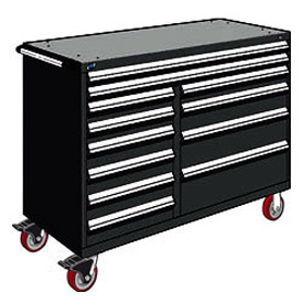 "Rousseau Metal 12 Drawer Mobile Multi-Drawer Cabinet - 60""Wx27""Dx45-1/2""H Black"