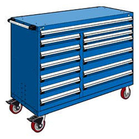 "Rousseau Metal 13 Drawer Mobile Multi-Drawer Cabinet - 60""Wx27""Dx45-1/2""H Avalanche Blue"