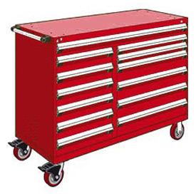 "Rousseau Metal 13 Drawer Mobile Multi-Drawer Cabinet - 60""Wx27""Dx45-1/2""H Red"