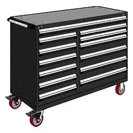 "Rousseau Metal 13 Drawer Mobile Multi-Drawer Cabinet - 60""Wx27""Dx45-1/2""H Black"
