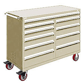 "Rousseau Metal 10 Drawer Mobile Multi-Drawer Cabinet - 60""Wx27""Dx45-1/2""H Beige"