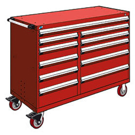 "Rousseau Metal 11 Drawer Mobile Multi-Drawer Cabinet - 60""Wx27""Dx45-1/2""H Red"