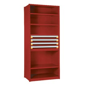 "Steel Shelving 36""Wx18""Dx75""H Closed 5 Shelf 4 Drawer Red"