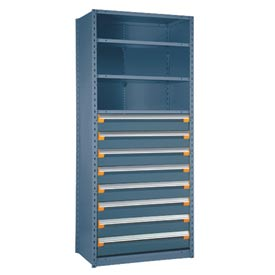 "Steel Shelving 36""Wx24""Dx75""H Closed 4 Shelf 8 Drawer Everest Blue"