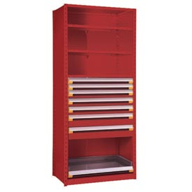 "Steel Shelving 36""Wx24""Dx75""H Closed 4 Shelf 7 Drawer Red"