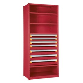 """Steel Shelving 42""""Wx18""""Dx75""""H Closed 5 Shelf 7 Drawer Red"""