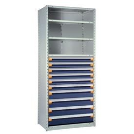 "Steel Shelving 48""Wx24""Dx87""H Closed 5 Shelf 10 Drawer Gray With Blue Drawers"