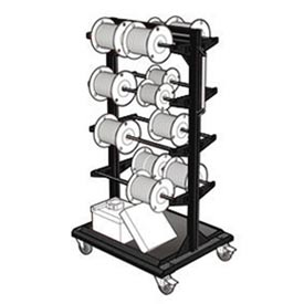 "Mobile Reel Rack 32""W x 27""D x 59-1/4""H Bottom Shelf 8 Storage Rods Black"