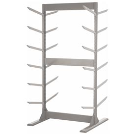 "Double Sided Stock Rack 45""Wx42""Dx85""H W/Anchoring Kit 6 Level Light Gray"