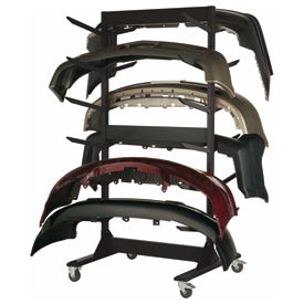 """Double Sided Stock Rack 45""""Wx42""""Dx91""""H Mobile 6 Level Black"""