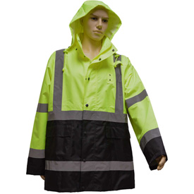 Petra Roc Rain Parka Jacket, ANSI Class 3, 300D Oxford/PU Coating, Lime/Black, XL by
