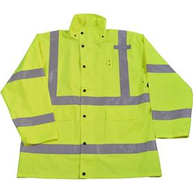 Petra Roc HiVis Rain Parka Jacket, ANSI Class 3, 300D Oxford/PU Coating, Lime, 3XL by