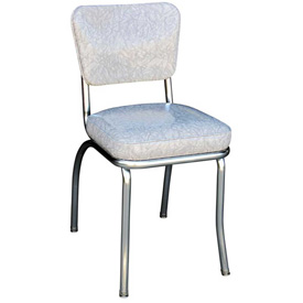 "Cracked Ice Grey Retro Chrome Kitchen Chair with 2"" Box Seat by"