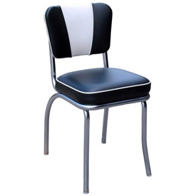 "Black and White V-Back Chrome Diner Chair with 2"" Box Seat"