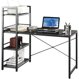"Techni Mobili Glass Desk with Built-in Shelves, 49""W x 25""D x 47-1/2""H, Grey"