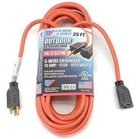 U.S. Wire 63025 25 Ft. Three Conductor Orange Extension Cord, 14/3 Ga. SJWT-A, 300V, 15A