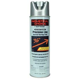 Rust-Oleum M1600 Solvent-Based Precision-Line Inverted Marking Paint Aerosol, Silver - Pkg Qty 12