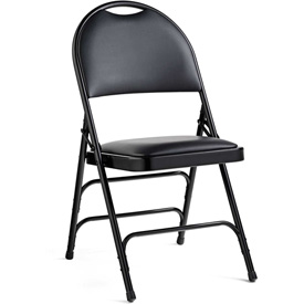 Comfort Series Steel Fanback Padded Vinyl Folding Chair Black/Black by