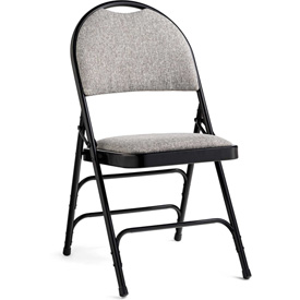 Comfort Series Steel Fanback Padded Fabric Folding Chair Black/Gray by