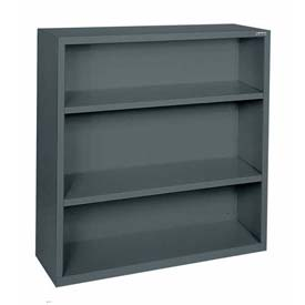 "Steel Bookcase 2-Shelf 36""W X 18""D X 42""H-Charcoal"
