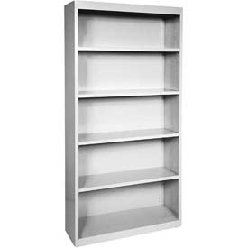 "Steel Bookcase 4 Shelves 34-1/2""W x 13""D x 72""H-Dove Gray"