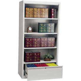 """Steel Bookcase With File Drawer 3-Shelf 36""""W X 18""""D X 72""""H-Dove Gray"""