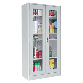 Sandusky Elite Radius Edge Series Clearview Storage Cabinet ER4V361872 - 36x18x72, Charcoal