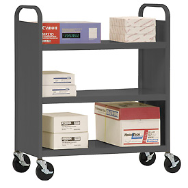 Sandusky® SF336 Double-Sided Flat 3 Shelf Steel Cart 37x18 - Charcoal