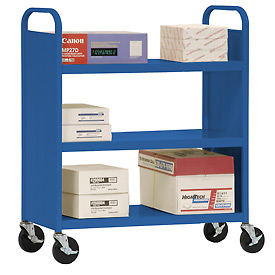 Sandusky® SF336 Double-Sided Flat 3 Shelf Steel Cart 37x18 - Blue