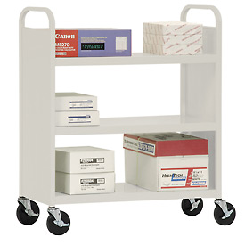 Sandusky® SF336 Double-Sided Flat 3 Shelf Steel Cart 37x18 - Putty