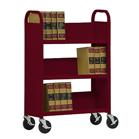 Sandusky® SL330 Single-Sided Slant 3 Shelf Book Cart 31x13 - Burgundy