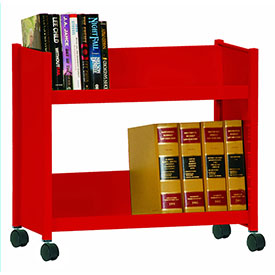 Sandusky® SR227 Single-Side Slanted 2 Shelf Book Cart 28 x 13 - Red