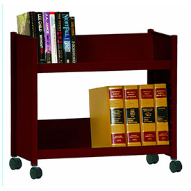 Sandusky® SR227 Single-Side Slanted 2 Shelf Book Cart 28 x 13 - Burgundy
