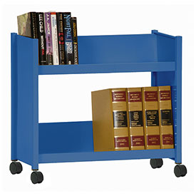 Sandusky® SR227 Single-Side Slanted 2 Shelf Book Cart 28 x 13 - Blue