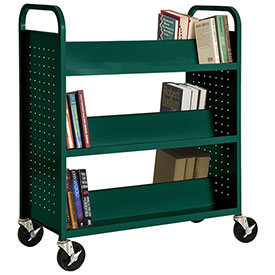 Sandusky® SV336 Double-Sided Slant 6 Shelf Steel Book Cart 37x18 Green
