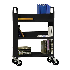 Sandusky® SVF336 Flat Bottom Shelf Steel Book Cart 37x18 - Black