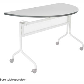 Mobile Training Half Round Table Top only (Base Sold Separately) 48 x 24 Gray by