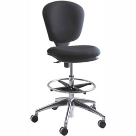 Safco Metropolitan Extended Height Drafting Stool Chair - Fabric - Black