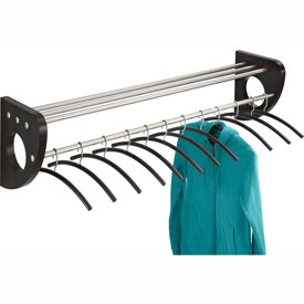 "48"" Wooden Wall Coat Rack With Hangers - Black"