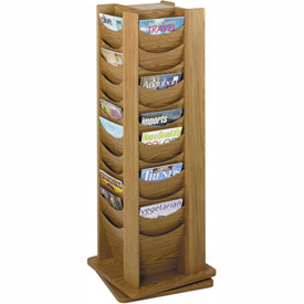 48 Pocket Solid Wood Rotating Display - Medium Oak
