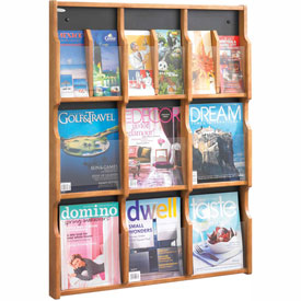 Expose 9 Magazine 18 Pamphlet Display - Medium Oak/Black
