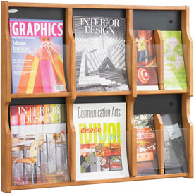 Expose 6 Magazine 12 Pamphlet Display - Medium Oak/Black