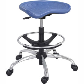 Safco Polyurethane Stool with Chrome Base - Blue