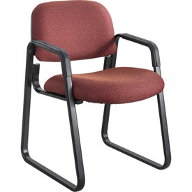 Cava Urth Sled Base Guest Chair, Burgundy Fabric
