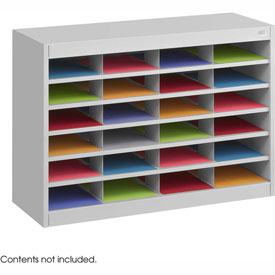 24 Compartment Steel Literature Organizer - Gray