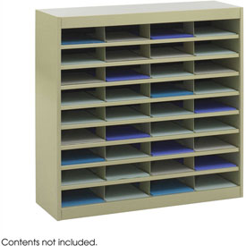 36 Compartment Steel Literature Organizer - Sand