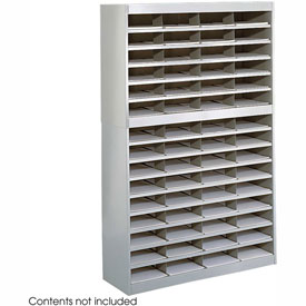 60 Compartment Steel Literature Organizer - Gray