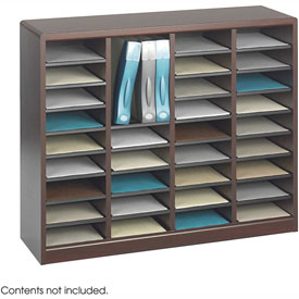 36 Compartment Wooden Literature Organizer - Mahogany
