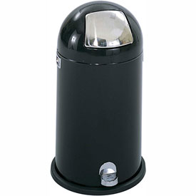 Step-On Dome Receptacle - 12 Gallon, Black